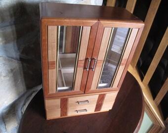 Large Jewelry Armoire, Wooden, With Drawers, Mirror, Art Deco, BJD Armoire, BJD Dresser, BJD, Jewelry Box, Storage, Doll