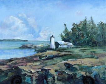 Original Oil painting,  Lighthouse, Isleboro, Maine.  We took the ferry from Lincolnville.