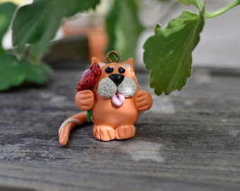 CHARM - Miniature Orange Cat holding a flower Polymer Clay, Necklace, Bracelet, Decoration