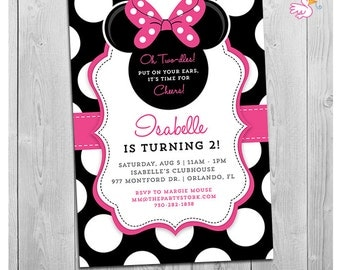 Minnie Mouse 2nd Birthday Invitations | Printable Girls Party Invitation | Black White Polka Dots and Pink | Second Birthday | Oh Two-dles