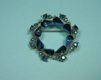 Vintage Classic Aurora Borealis Rhinestone Wreath Brooch, Blue and Green, Just Reduced