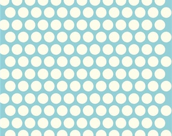 Polka dot fabric - Birch Organic Cotton Fabric - Dottie Cream - Pool - Mod Basics Poplin - Dot Fabric