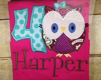 Owl Birthday Shirt, Owl Applique Shirt, Personalized Owl Shirt