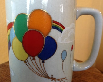 Bright and Cheery Otagiri Japan Colorful Balloons with Rainbow Ceramic Mug