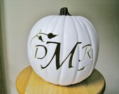 Custom Carved Monogram Pumpkin for Weddings and Fall Decorating