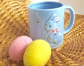 Vintage Blue Bunny Coffee Cup for Easter Made in Japan / Ceramic Blue Coffee Mug by Otagiri