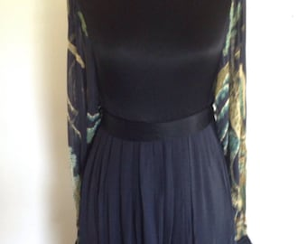 Vintage 70s Asian Print Dress - Traina Boutique - Sheer Sleeves
