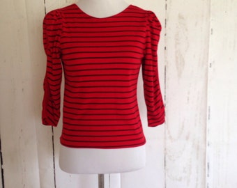 Vintage 80s Poly/Cotton T-Shirt - Red and Black Stripes - Punk Top