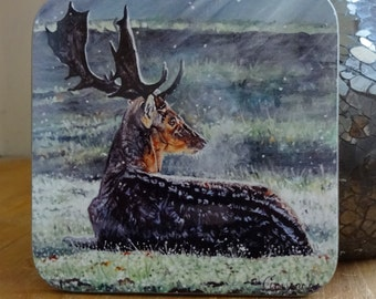 Stag Wooden Coasters with a High Gloss Finish - Printed with an original painting stag - Wipeable durable 9cm x 9cm wooden photo coasters