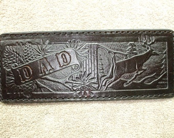 personalized brown buck wallet / billfold (54) deer wallet.  ships same day as ordered