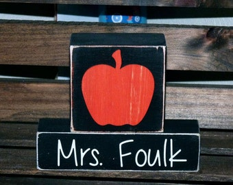 Apple Teacher Blocks - Customized Teacher Gift