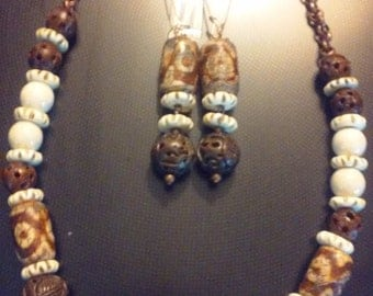 necklace and ear ring set,tibetan agate,bone,wood,/copper chain