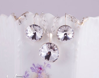 Sparkly dainty jewelry set, earrings necklace with crystal clear Swarovski, sterling silver, gorgeous round rivoli crystals, clear Swarovski