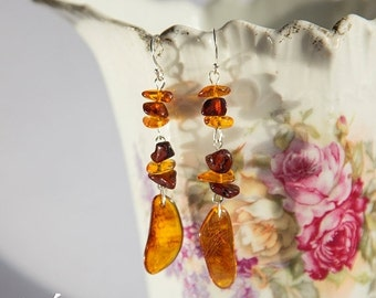 SALE Sterling silver earrings with multi colored natural Baltic amber, orange, honey, cognac Baltic amber dangle ear-rings, light weight jew