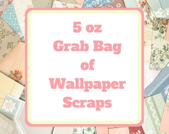 5 oz (80-100 pieces) Grab Bag of Wallpaper Scraps for Collage, Scrapbooking, and Crafts