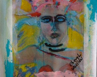 Paper Art, Face Handmade, Outsider Art, Painting of Girl, Acrylic Original, Artwork on Paper, Embellished Art, by Cheryl Wasilow