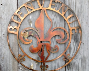 Bienvenue Antique Copper Plated Steel Metal Round Wall Mount Sign Style 3 Louisiana Fleur de lis