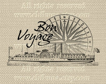 BON VOYAGE 2 - Large Single Image - Digital Sheet Printable to print on Fabric/Paper, Iron On Transfer for Tote Bags t-shirts Pillows