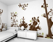 Kids Wall Decals Set - Forest theme (free shipping) - Pack of 8 large Children Wall Stickers for Baby Nursery or Kids Room