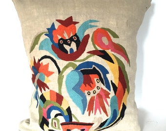 Vintage Hand Embroidered Pillow cover.