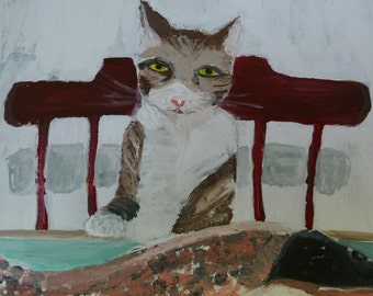 """Original Cat Painting-Acrylic Painting on Canvas with Wood Frame-Cat with Fish-Cat Dining-One of a Kind-Cat Eating Fish-11""""x14"""" Canvas"""