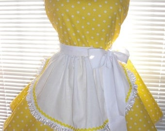 Retro Style French Maid Apron Yellow with Small White Polka Dots Circular Flirty Skirt