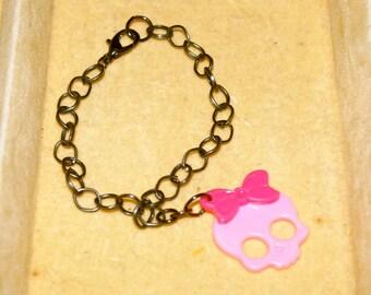 Pink Skull & Gunmetal Chain Bracelet