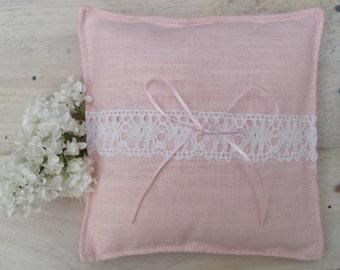 Tender pink linen ring bearer pillow rustic elegant wedding