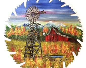 Hand Painted Saw Blade Mountain Spring Windmill and Red Barn