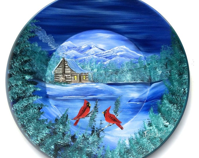 Hand Painted 11 Inch Gold Pans Mountain Cabin Cabin and Cardinals