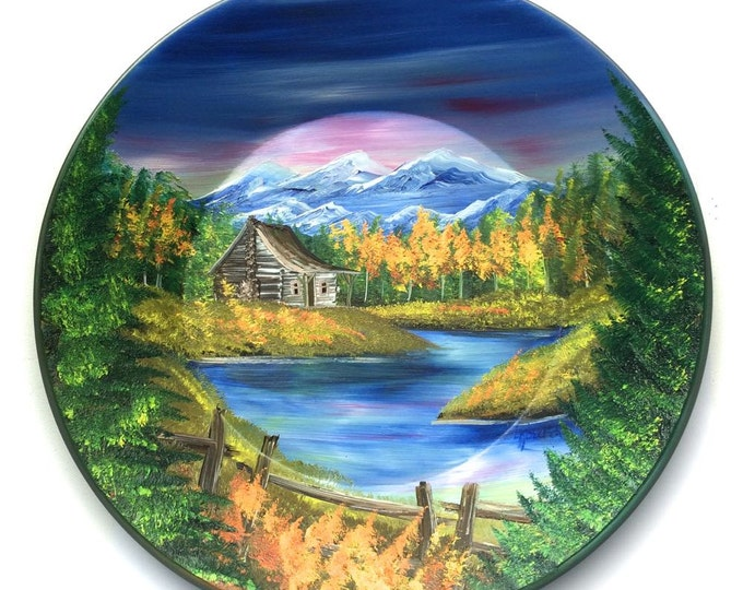 Hand Painted 11 Inch Gold Pans Mountain Fall Cabin  On Sale!!