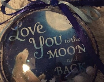 Love you to the moon and back bear ornament