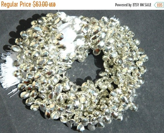 20 off. AAA Mystic Silver Pyrite Faceted Pear Briolettes -Size 10-8mm Long  Full 8 Inches
