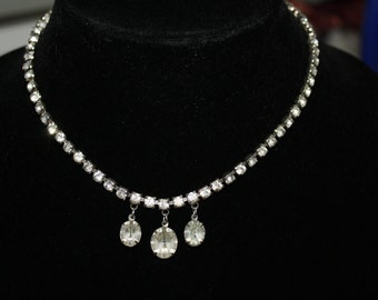 Vintage Rhinestone Hanging Drops  Necklace