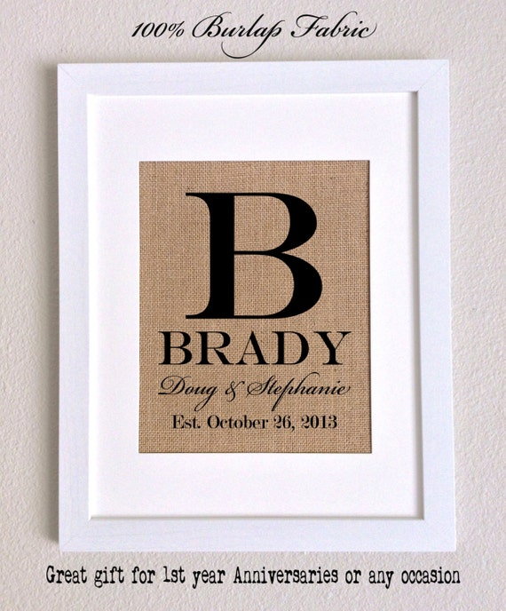 Burlap Print, Name and Est. Date, Gift for Weddings, Engagements, Showers, Announcement