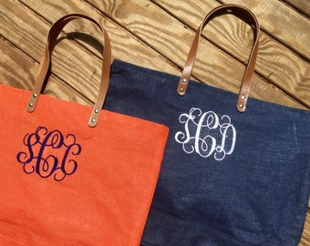 Monogrammed Large Jute Tote - Monogram Jute Tote - Monogrammed Burlap Tote - Monogram Burlap Tote Bag - Bridesmaids Gift Idea - Beach Tote