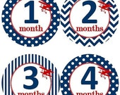 ON SALE Baby Monthly Milestone Growth Stickers Navy Red Bi-planes Biplanes Airplane Planes MS526 Nursery Theme Baby Shower Gift Baby Photo P