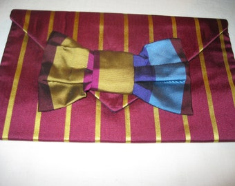 handmade 100% silk envelope clutch in burgundy with gold stripes