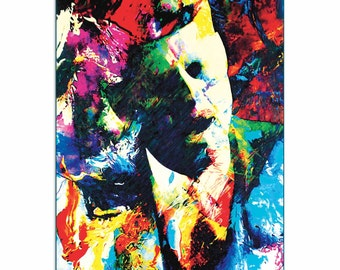 Pop Art 'John F Kennedy JFK' by Artist Mark Lewis, Colorful John F Kennedy Jfk Painting Limited Edition Giclee Print on Metal or Acrylic