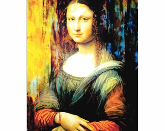 Pop Art 'Mona Lisa Ageless Charm' by Artist Mark Lewis, Colorful Mona Lisa Painting Limited Edition Giclee Print on Metal or Acrylic