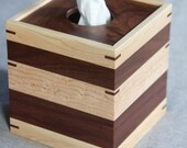 Boutique Tissue Box Cover Handmade out of Walnut and Maple - FREE Shipping To USA