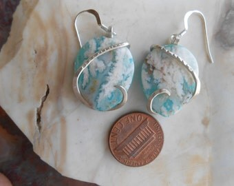 Cabochons Regency Plume Agate Turquoise Silver Wrapped Earrings