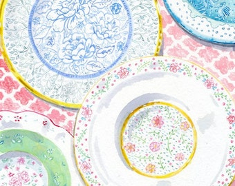 Decorative Plates - Home and Kitchen Wall Decor -- Print of Original Watercolor Painting --  4 Vintage Plates