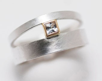 Princess Cut White Sapphire in 14k Gold Setting Orbit Ring
