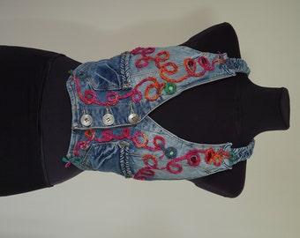 Unique Vest, Jeans, Boho,  Upcycled, Aplique