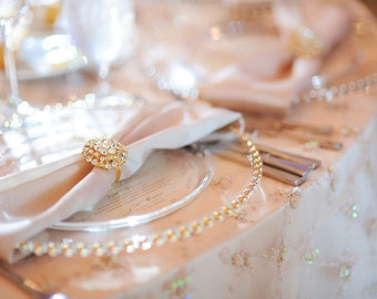 Gold Rhinestone Napkin Rings, Luxury napkin rings, Wedding decorations, gold brooches, Napkin decoration, Special napkins, Bride and Groom
