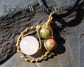 Rose Quartz and Unakite Wire Wrapped Pendant for Enhancing Romance Handmade & One of a Kind