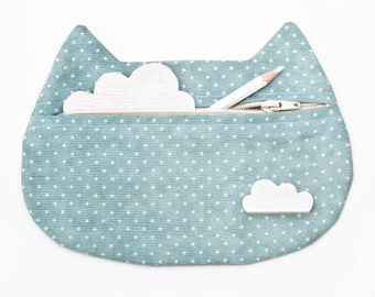 Blue Cat Cosmetic Bag Cute Pencil Case Blue Makeup Bag Cat Pouch Polka Dots Travel Bag Blue Bridesmaid Gift for Sister Toiletry Bag
