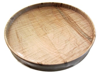 Ambrosia Maple Turntable, Wood Lazy Susan, Lazy Susan with Rim, Kitchen Decor, Food Serving