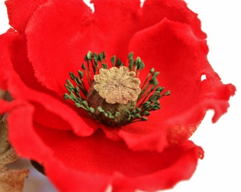 Red poppy flower buttonhole, mothers day gift, red poppy corsage, velvet flower, poppy brooch, poppy pin, poppy jewelry, hostess gift
